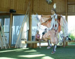 Cara Arkand performing a dance in the Wanuskewin Heritage Park