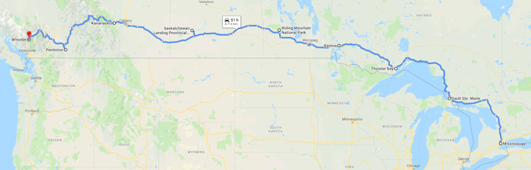 Map from Mississauga to Whistler Summer 2019