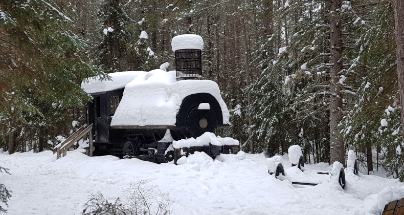 Old steam Loc in winter